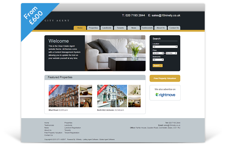 Estate Agent Websites - Clear Theme