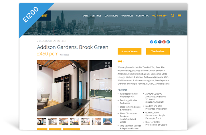 Estate Agent Websites - Horizon Theme